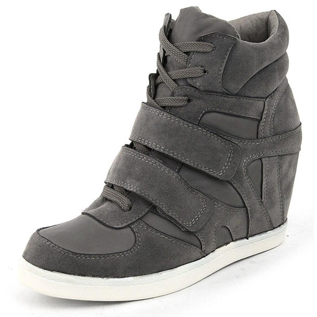 Epicsnob Damens Schuhes High Top Wedge Hidden Heel Suede Dance Fashion Sneakers