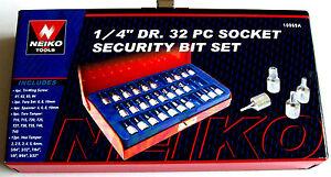 32pc-NEIKO-1-4-034-dr-SECURITY-TAMPER-PROOF-BIT-SOCKET-SET-TORX-10069A