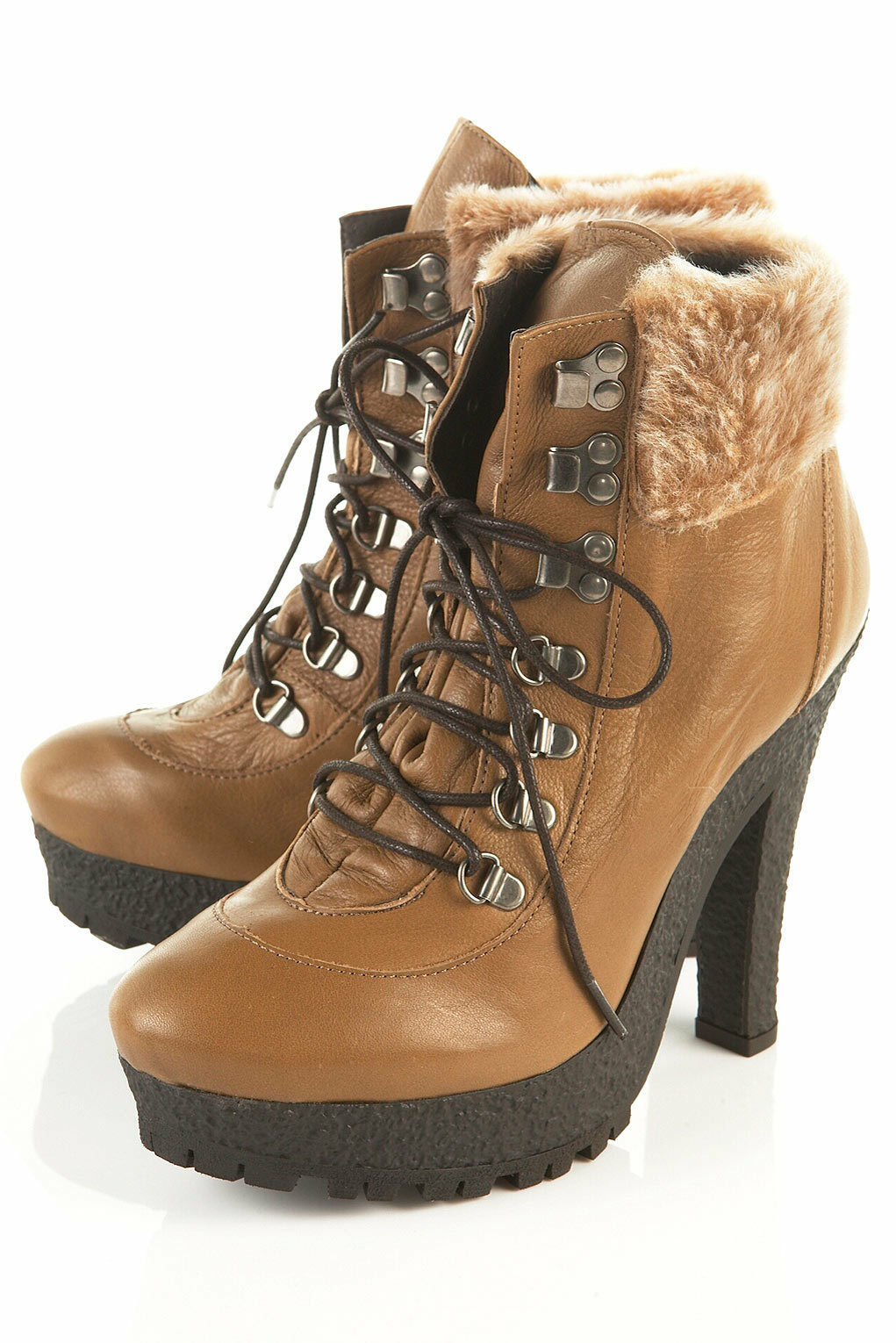 New TOPSHOP ARELLA2 heeled hiker boots in Camel