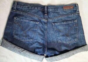 Women's Calvin Klein Jeans Jean Shorts Sz 10 Med Blue High Rise 32x3 Cuffed