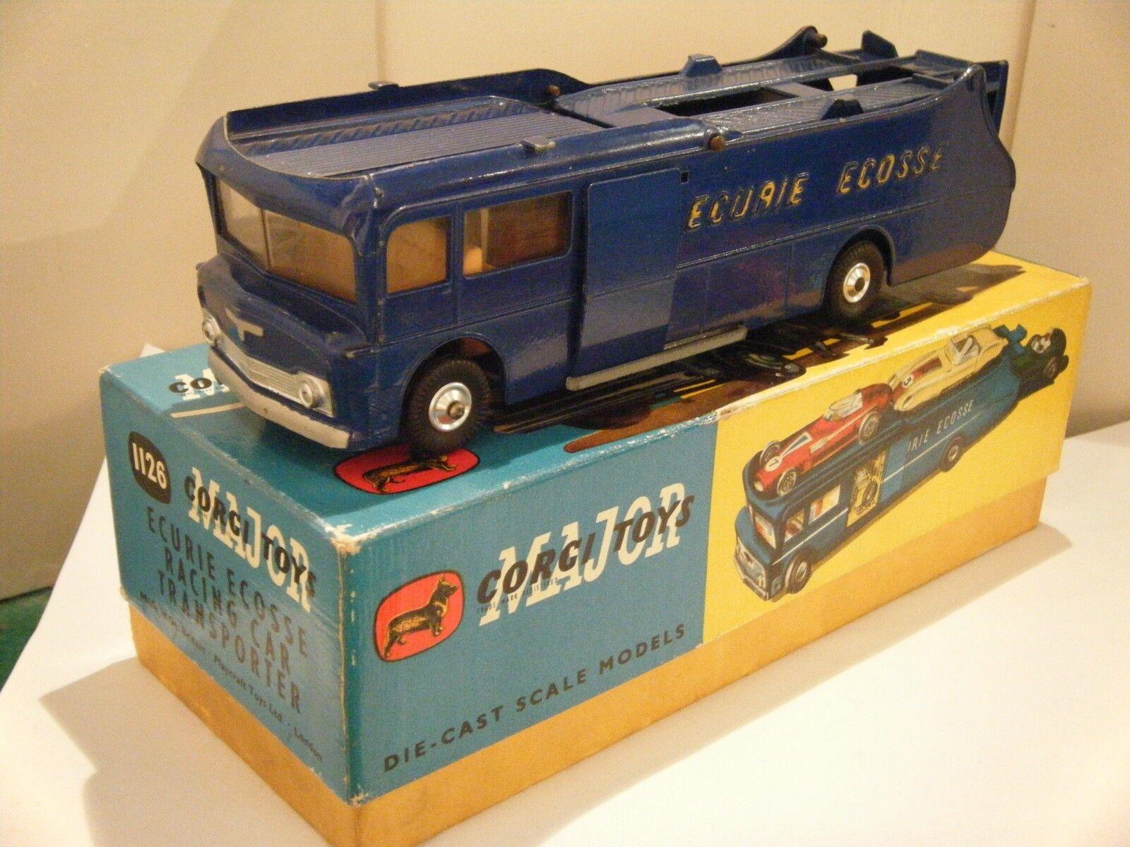 Corgi no  1126  Ecurie Ecosse Coche Transportador  Azul Oscuro (en Caja Original Década de 1960)