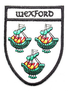 Irish Wexford Crest Shield Embroidered Iron / Sew-on Cloth Badge Patch Appliqué
