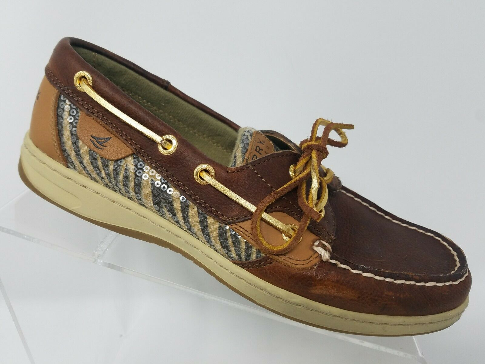 Sperry Top Sider blueefish Womens Slip On Boat shoes Size 8 Brown gold Leather