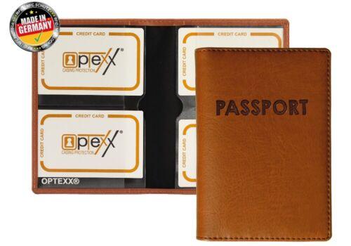 "Reisepass Etui Maris Cognac /""Passport/"" OPTEXX® RFID Reisepasshülle"