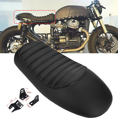 Black Vintage Hump Brat Seat Cafe Racer Saddle Motorcycle Retro Seat Universale