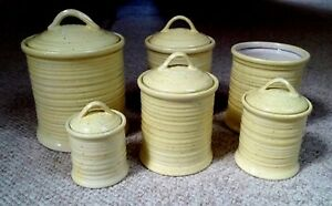 Image Is Loading 11pc Contemporary Ceramic Yellow Canister Set Utensil Holder