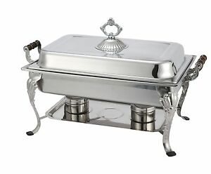 Winco 408-1, 8-Quart Crown Chafer with Sculpted Wood Handles
