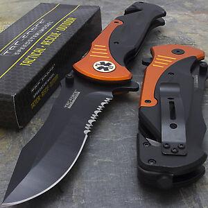 """10.5"""" EMT RESCUE SPRING ASSISTED TACTICAL FOLDING KNIFE Blade Open Pocket Assist"""