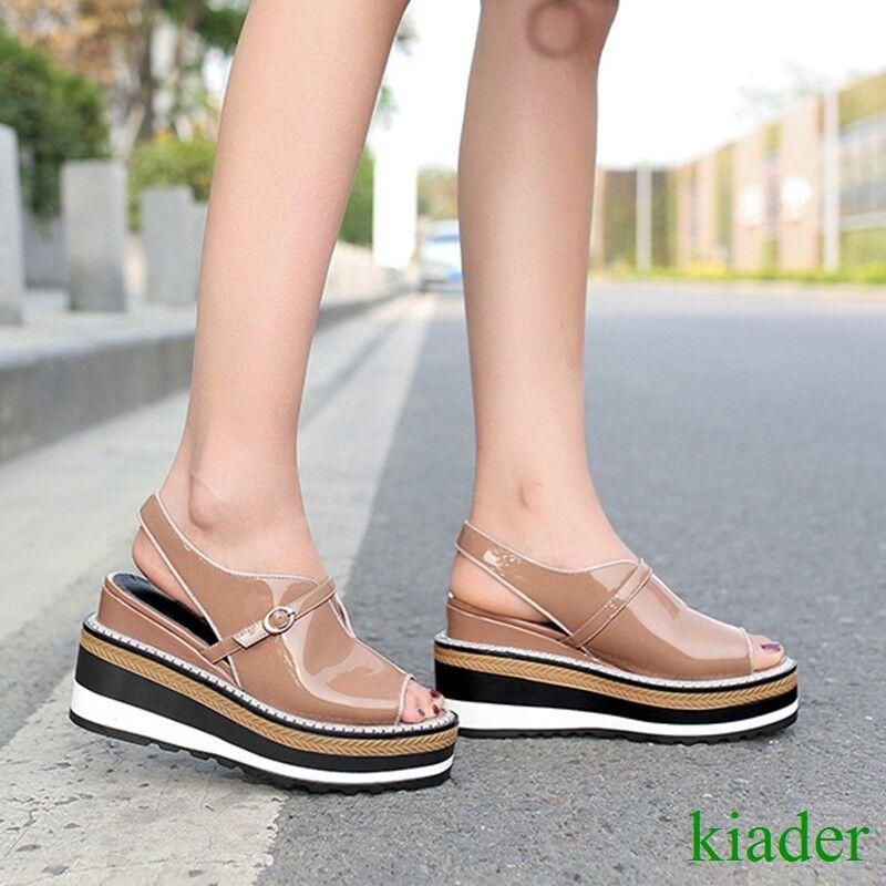 Retro donna Wedge Platform Creepers Slingbacks Real Leather Med Heels Sandals