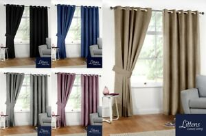 Image Is Loading Luxury Linen Look Thermal Blackout Pair Curtains Eyelet
