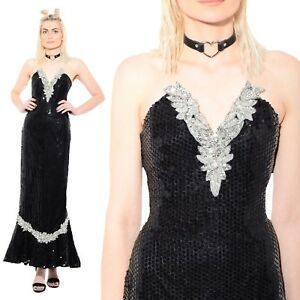 Vtg-80s-SEQUIN-Beaded-Flapper-Trophy-Deco-Cocktail-Party-Mermaid-Maxi-Dress-Gown