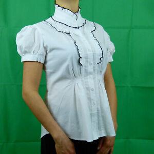 White-Black-Formal-Cotton-Victorian-Steampunk-Short-Sleeve-Shirt-8-10-12-14-16