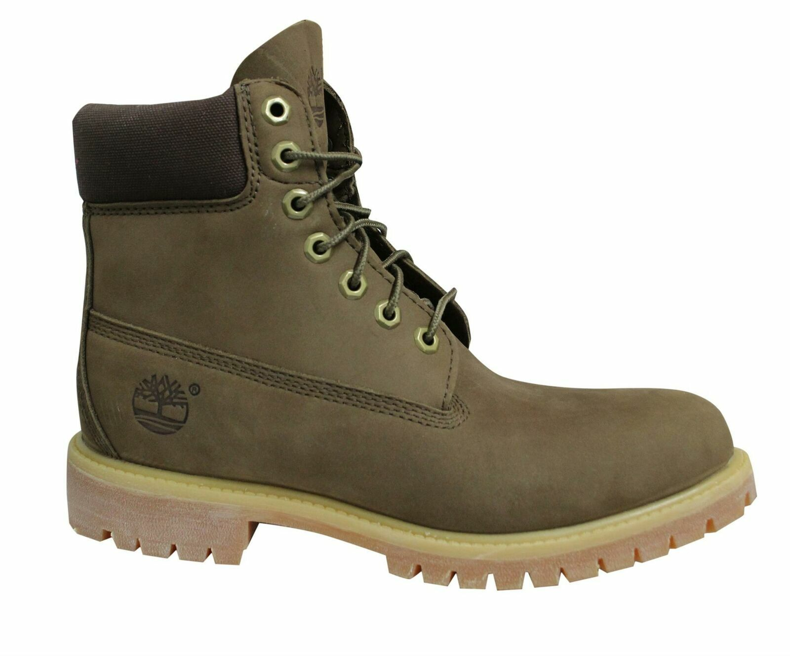 Timberland 6 Inch Green Brown Nubuck Leather Lace Up Mens Boots 6131R