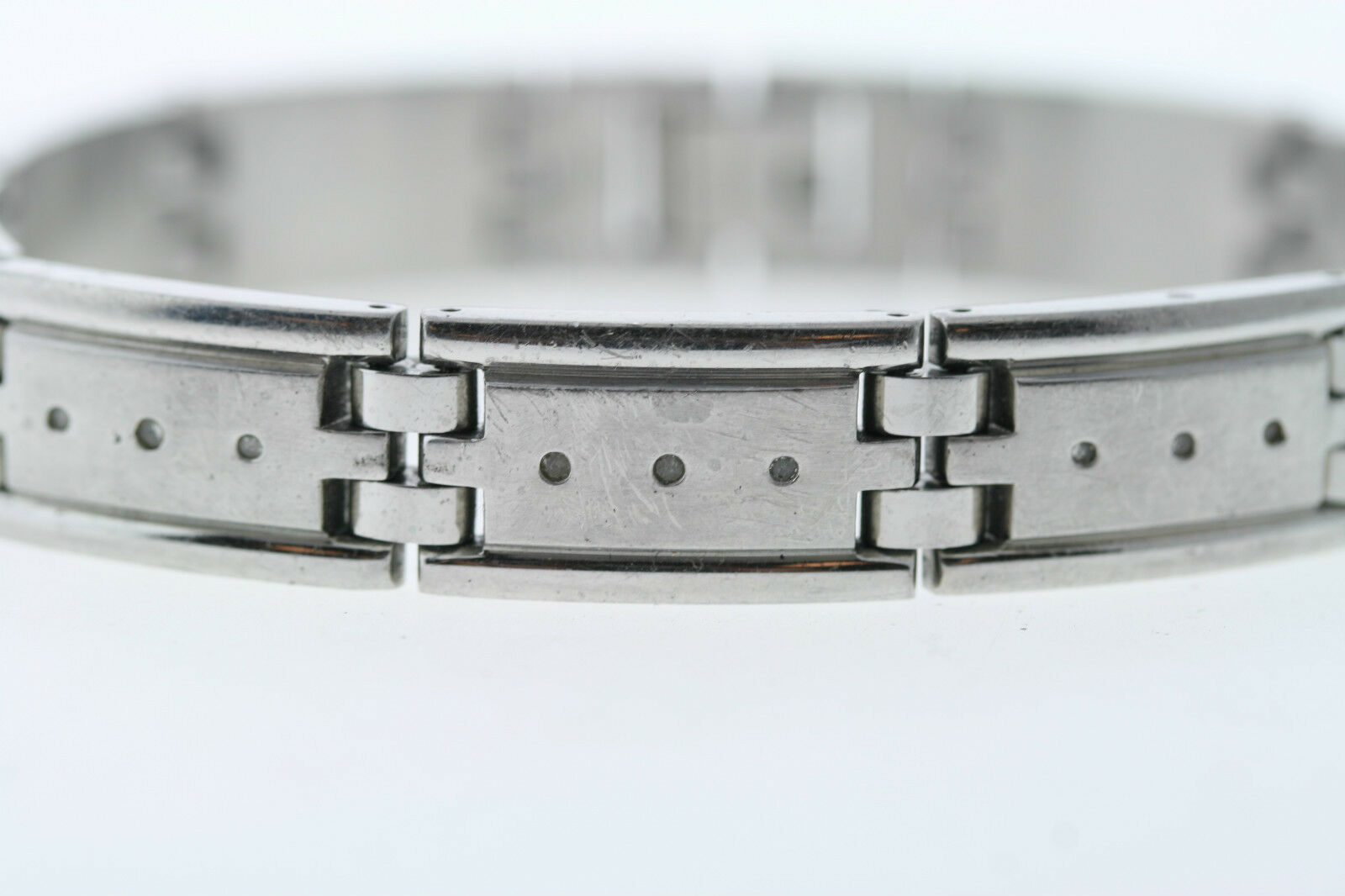 Men's Stainless Steel .10ctw Genuine Natural Diamond Accent Link Bracelet 8