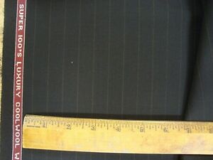 "4 yd HOLLAND SHERRY WOOL FABRIC Cool Wool Super 100s 8 oz SUITING Black 144"" BTP"