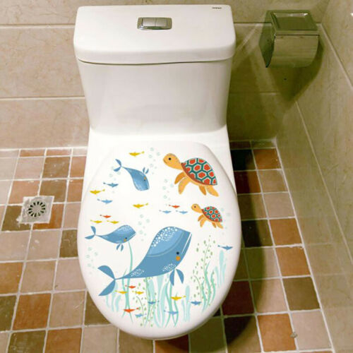 Whale Sea Fish Animals Toilet Seats Decals Bathroom Art Decal Home Decor G