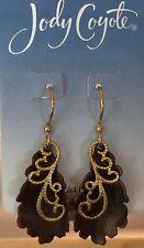 Jody Coyote Earrings JC0873 new Seasons QN393-01 gold blue heart dangle