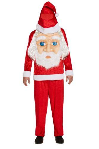 Costume adulto Babbo Natale con Jumbo Face Divertente Costume Natale Xmas taglia unica