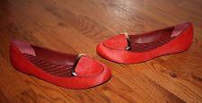 Womens $295 Tory Burch Jess Red Calf Hair Brick Flats Shoes Size 9 M