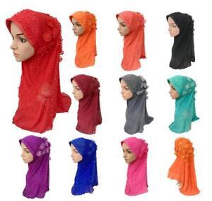 Women-Muslim-Shawl-Amira-Hijab-Headwear-Floral-Beads-Long-Scarf-Islamic-Wrap