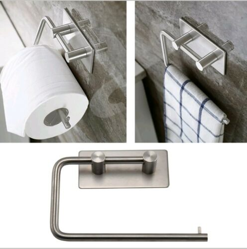 New Modern Polished Stainless Steel Toilet Roll Holder Self Adhesive Stick