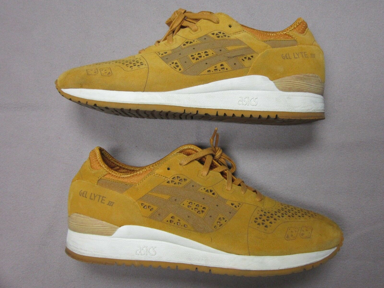 ASICS MENS GEL LYTE III LASER CUT gold WHEAT SUEDE SNEAKER SHOES SIZE 11.5 RARE