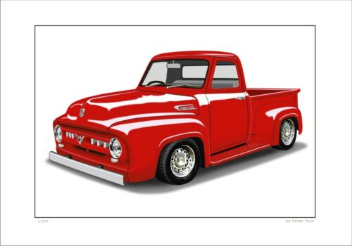 FORD 53/'  F100 PICK UP TRUCK  LIMITED EDITION CAR DRAWING PRINT 5 CAR COLOURS