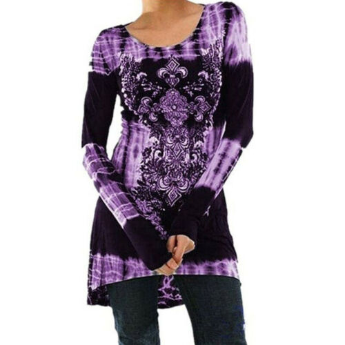 Plus Size Women Long Sleeve Tops T-Shirt Ladies Loose Floral Pullover Blouse CP