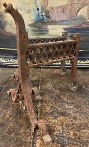 Paire de Chenets Néogothique Gothique XIXeme Ancien Cheminée Napoleon III