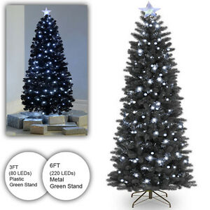 6ft Black Fibre Optic Christmas Tree