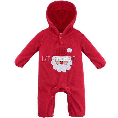 Unisex Baby Overall Fleece Einteiler Strampler mit Kapuze Weihnachtsmann Kostüm