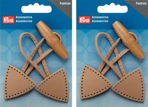 Beige Leather Twin Pack Prym Duffle Coat Toggle Closure Button