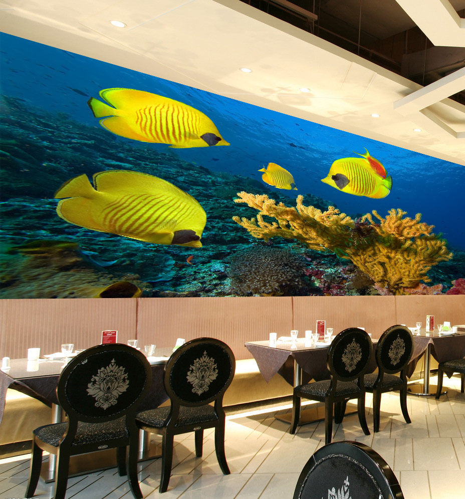 3D Sea Yellow Fishes Corals 280 Wall Paper Wall Print Decal Wall AJ Wall Paper