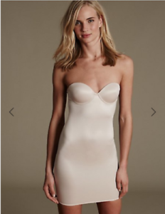 "Famous Make Strapless /""100 Ways To Wear/"" Padded Full Slip Almond or Black."