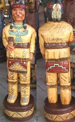Cigar Store Indian Brave 6 Hand Carved 6 Ft Wooden Sculpture By Frank Gallagher Ebay