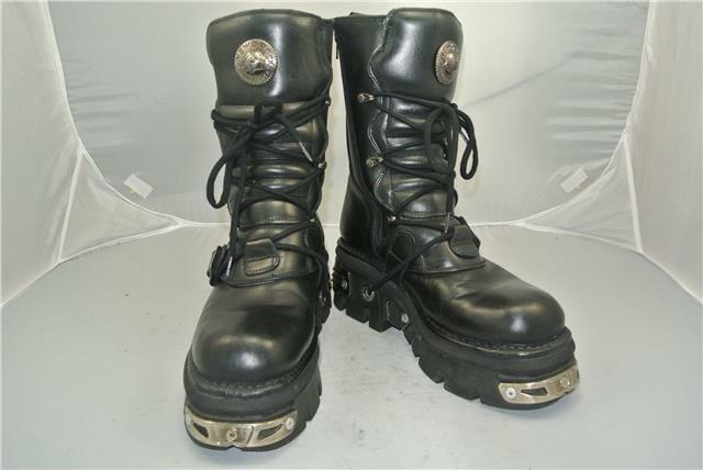 NEW ROCK ROCK ROCK BLACK BOOTS 4 STRAPS ANATOMICAL SOLE ZIP REACTOR SIZE 9 UK afcbe6
