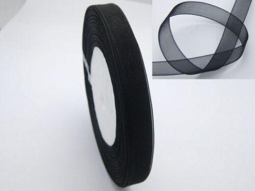 "3//8/"" Noir Mariage Artisanat Sheer Organza Ribbon 50 Yd 10 mm environ 45.72 m"