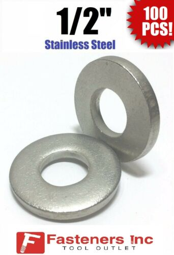 """.175 Thick 1//2/"""" Stainless Steel THICK HEAVY DUTY SAE Flat Washers Qty 100"""