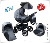Pram Stroller Buggy Pushchair 3in1 Trend+ Umbrella + Car Seat 18 Colours