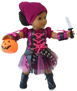 Punk Rock Pirate Halloween Costume For 18 Inch American Girl Doll Clothes