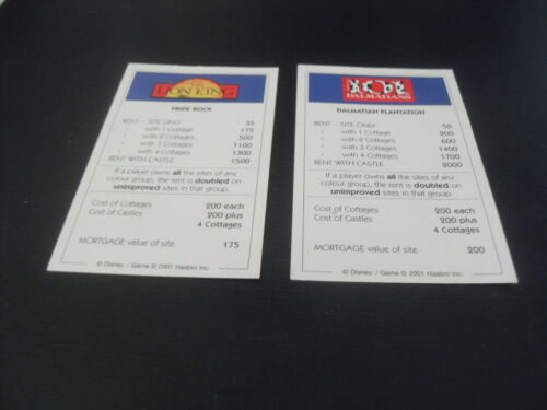 Please choose from the list. Disney Monopoly 2001 Hasbro Spare Pieces