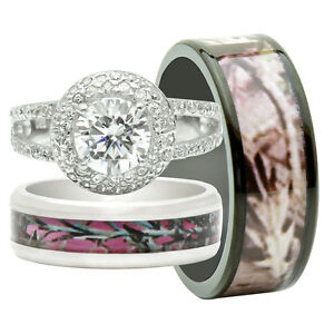 His And Hers 3PCS Titanium Camo 925 Sterling Silver Engagement Wedding Rings Set   EBay