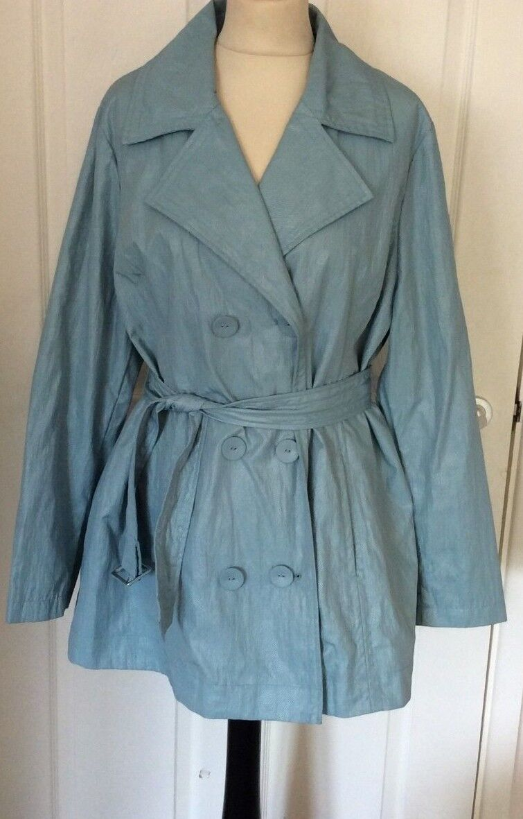 MARKS & SPENCER - PER UNA .. LIGHT blueE TRENCH   RAIN COAT .. UK SIZE 18  BNWOT