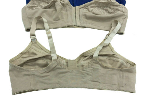 Stained 6 pcs 3-Hooks No Padding Wire Free Open Front Cotton FRONT CLOSURE Bra