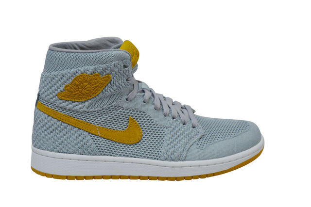 37c64548d6ee Mens Nike Air Jordan 1 Retro Hi Flyknit - 919704025 - Wolf Grey Golden  Harvest