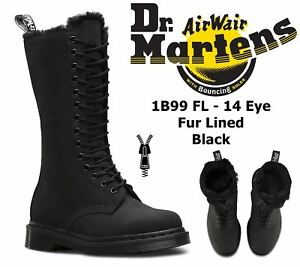 Dr-Martens-Ladies-1B99-Black-Faux-Fur-Lined-Warm-Winter-Cascade-Leather-Boots