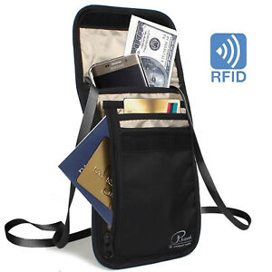 Travel-Passport-Wallet-Bag-ID-Holders-with-Card-Slots-Neck-Strap-Zipper-w-RFID