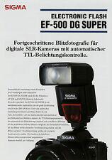 Prospekt 1 Blatt Sigma EF-500 DG Super Electronic Flash 3/04 2004 brochure Blitz