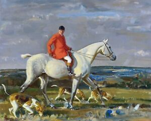 Sir-Alfred-Munnings-Whipper-Grey-Hunter-Fox-Hunting-Hounds-dog-14x11-ART-PRINT