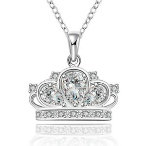COUTURE-White-Gold-Plated-silver-tone-crown-pendant-necklace-NEW